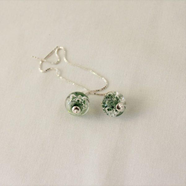 Boucles d'oreilles chaîne, vert foncé