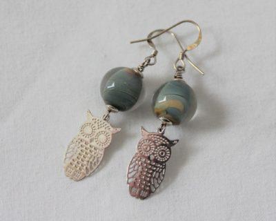 Boucles d'oreilles perle et hibou
