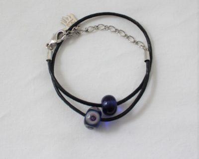 Bracelet cuir et verre de Murano