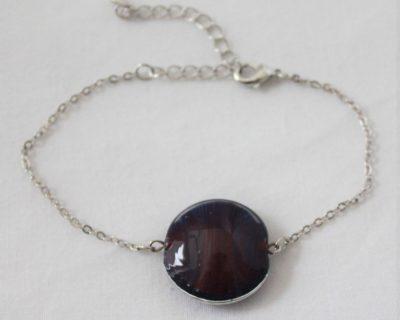 Bracelet perle mauve en verre filé