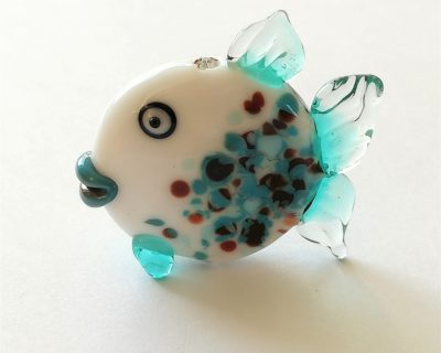 Figurine poisson bleu en verre