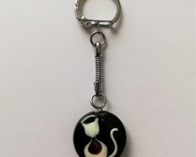 Porte-clés chat noir et blanc en verre