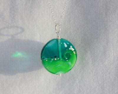 Pendentif plage vert et turquoise