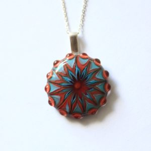 Pendentif rouge et turquoise en verre de Murano