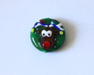 Perle de verre verte, décoré d'une renne de Noël